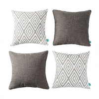 "HPUK Set of 4 Decorative Throw Pillow Covers Geometric Design Cushion Pillowcases for Couch Sofa Bed Car, 17""x17"", Blue"