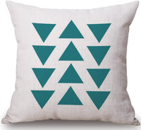 BLUETTEK Modern Simple Geometric Style Soft Linen Burlap Square Throw Pillow Covers, 18 x 18 Inches, Set of 4 (Green)