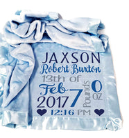 Kids-Pillowcases-By-Stockingfactory Personalized Baby Blankets for Boys (30x40, Blue Micro Plush Fleece Satin Edge Trim) Custom with Baby's Name for Newborn Baby Room Nursery Christening or Baptism