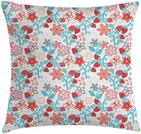 "Ambesonne Floral Throw Pillow Cushion Cover, Flowers Ladybugs Butterflies Strawberries Kids Nursery Playroom Pattern, Decorative Square Accent Pillow Case, 26"" X 26"", Dark Coral Aqua"