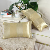 CaliTime Pack of 2 Cushion Covers Bolster Pillow Cases Shells for Couch Sofa Home Decoration Modern Shining & Dull Contrast Striped 12 X 20 Inches Gold