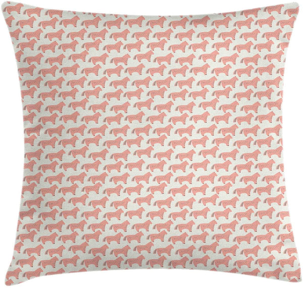 "Ambesonne Animal Throw Pillow Cushion Cover, Horse with Colored Dashes or Strokes Nursery Themed Illustration, Decorative Square Accent Pillow Case, 36"" X 36"", Coral and Cream"