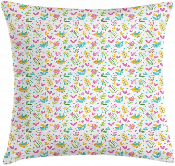 "Ambesonne Leaf Throw Pillow Cushion Cover, Hand Drawn Doodle Spring Birds on Tree Branches Pastel Hearts Leaves Dots Nursery, Decorative Square Accent Pillow Case, 26"" X 26"", Multicolor"