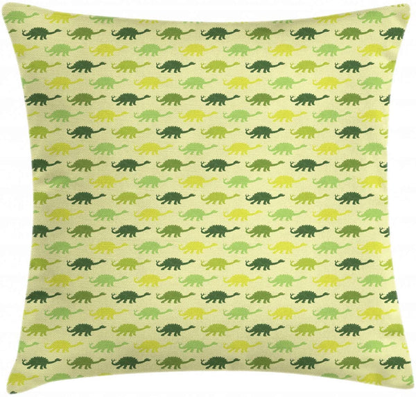 "Ambesonne Dinosaur Throw Pillow Cushion Cover, Repeating Pattern of Dinosaur Stegosaurus in Various Green Shades Kids Nursery, Decorative Square Accent Pillow Case, 36"" X 36"", Multicolor"