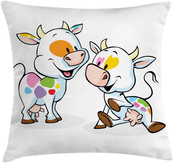 "Ambesonne Crazy Throw Pillow Cushion Cover, Farmland Animals Cartoon Baby Cows with Colorful Spots Nursery Creature Illustration, Decorative Square Accent Pillow Case, 16"" X 16"", Multicolor"
