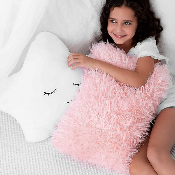 Set of 2 Decorative Pillows for Girls, Toddler Kids Room. Star Pillow Fluffy White Embroidered and Furry Pink Faux Fur Pillow. Soft and Plush Girls Pillows – Throw Pillows for Kid's Bedroom Décor