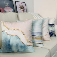 BLUETTEK Printed Abstract Blush, Blue and Turquoise Color Decorative Throw Pillow Covers, Soft Velvet Accent Cushion Cases 45cm x 45cm (Blush & Blue Waves)