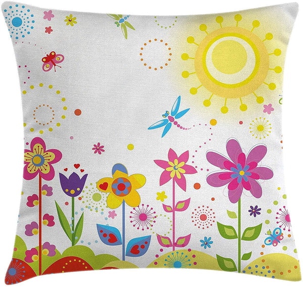 Floral Throw Pillow Cushion Cover, Summer Season Sun Butterflies Dragonfly Flowers Happiness Nursery Kids Spring Theme, Decorative Square Accent Pillow Case, 18 X 18 Inches, Multicolor