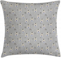 "Ambesonne Hipster Throw Pillow Cushion Cover, Bear Faces with Glasses and Doodle Triangles Dots Nursery Pattern, Decorative Square Accent Pillow Case, 40"" X 40"", Pale Grey Black Beige"