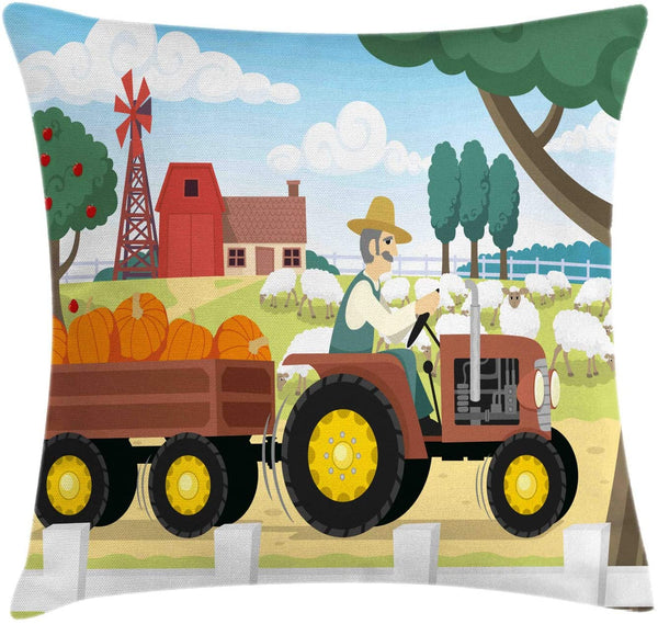 "Lunarable Farmhouse Throw Pillow Cushion Cover, Cartoon Style Colorful Agriculture Themed Nursery Illustration Comic Style Print, Decorative Square Accent Pillow Case, 40"" X 40"", Multicolor"