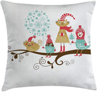 YABABY Christmas Decorations Throw Pillow Cushion Cover by, Cheerful Animals with Costumes on Tree Branch in Winter Kids Nursery Theme, Decorative Square Accent Pillow Case, 18 X 18 Inches, Multi