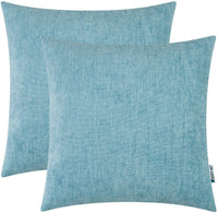 HWY 50 Cotton Linen Soft Comfortable Natural Decorative Throw Pillows Covers Set Cushion Cases for Couch Sofa Living Room Sky Blue 20 x 20 Inches Pack of 2