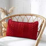 Throw Pillow Covers for Couch/Bed/Sofa Home Decorative Cushion Cases, Cable Knit Sweater Square Warm Pillow Case, Super Soft Knitting Covers Only (Red, 14 x 22 Inch)