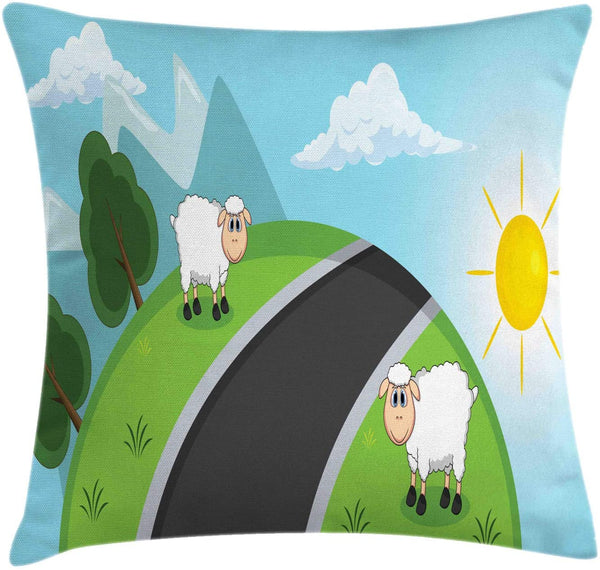 "Lunarable Sheep Throw Pillow Cushion Cover, Farmland Animals on a Hill with a Road at Sunset Kids Nursery Cartoon Illustration, Decorative Square Accent Pillow Case, 20"" X 20"", Multicolor"