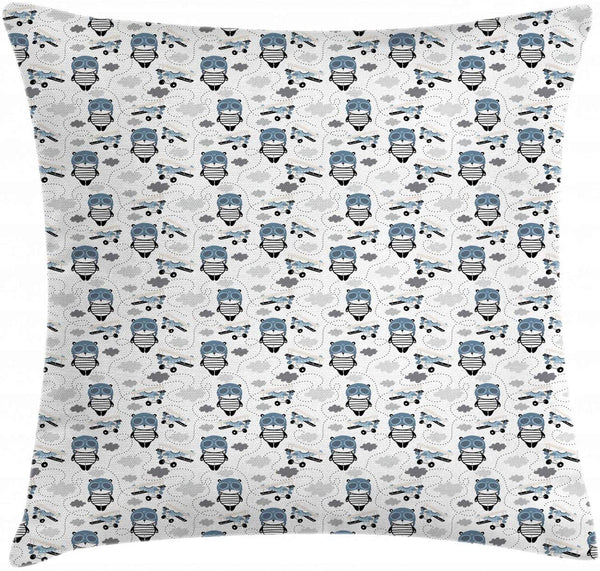 "Lunarable Panda Throw Pillow Cushion Cover, Nursery Bear in Pilot Cap with Retro Airplane in Sky Flying Nursery, Decorative Square Accent Pillow Case, 36"" X 36"", Slate Blue Grey White"