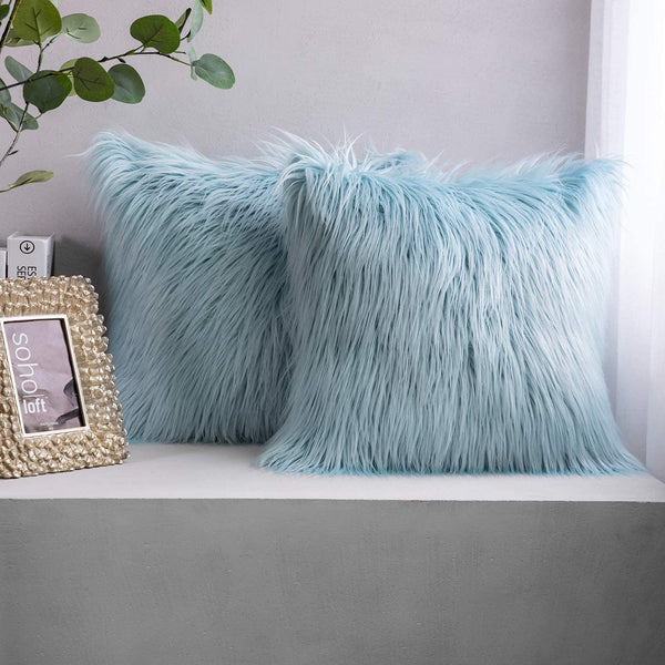 Phantoscope Pack of 2 Luxury Series Throw Pillow Covers Faux Fur Mongolian Style Plush Cushion Case for Couch Bed and Chair, Light Blue 18 x 18 inches 45 x 45 cm