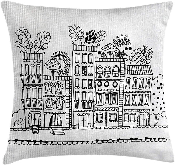 Modern Decor Throw Pillow Cushion Cover, Sketchy Hand Drawn Cartoon House Apartment Trees Kids Nursery Room Print, Decorative Square Accent Pillow Case, 18 X 18 Inches, Black and White