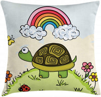 "Ambesonne Turtle Throw Pillow Cushion Cover, Cartoon Animal Looking at a Butterfly on Hill Spring Season Colorful Nursery Doodle, Decorative Square Accent Pillow Case, 24"" X 24"", Multicolor"
