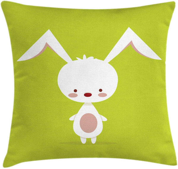 "Ambesonne Bunny Throw Pillow Cushion Cover, Cartoon Character on a Green Background Clipart Nursery Composition, Decorative Square Accent Pillow Case, 36"" X 36"", Apple Green White Warm Taupe"