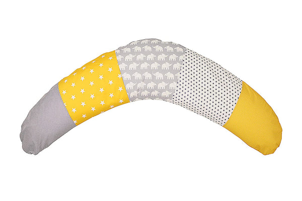 "100% Cotton Nursing Pillow by ULLENBOOM | Elephant/Stars/Checkered | Breastfeeding/Side Sleeper | 75"" x 15"" - Unisex Yellow/Grey"