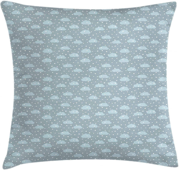 "Lunarable Stars Throw Pillow Cushion Cover, Sky with Clouds Fluffy Weather Cartoon Night Kids Nursery Sleepy Pattern, Decorative Square Accent Pillow Case, 16"" X 16"", Baby Blue Grey White"