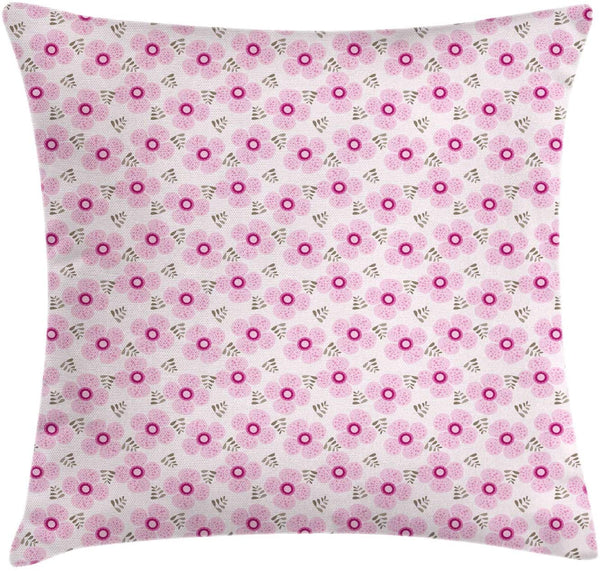 "Ambesonne Floral Throw Pillow Cushion Cover, Pink Blossoms with Dotted Petals and Leaves Girlish Kids Nursery, Decorative Square Accent Pillow Case, 28"" X 28"", Pale Pink Magenta and Taupe"