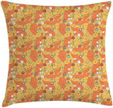"Ambesonne Fox Throw Pillow Cushion Cover, Animals with Flowers Ladybugs Butterflies Strawberries Botanical Kids Nursery Theme, Decorative Square Accent Pillow Case, 24"" X 24"", Orange"