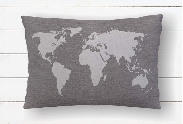 Wolrd Map Pillow Cover World Traveler Gift for Dad Sofa Pillows Wanderlust Nursery Adventure Room Decor Accent Pillow Covers Gray Decor