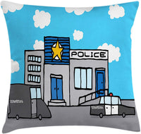 "Lunarable Police Throw Pillow Cushion Cover, Cartoon Police Station with Vehicles and Cloudy Sky Kids Boys Nursery, Decorative Square Accent Pillow Case, 36"" X 36"", Pale Blue Grey and White"