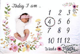 Baby Monthly Milestone Blanket for Girl/Large & Soft/Newborn Photo Prop Blanket/Unique for New Moms/NO Ironing Needed/Months Blanket/Watch me Grow Blanket/Baby Blanket with Months