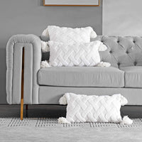 Foindtower Soft Fur Lumar Throw Pillow Cover with Tassels Cute Accent Embroidery Cushion Cover, Solid Tufted Geometric Pillowcase for Couch Sofa Bedroom Living Room Home Decorations 12x20 Inch White