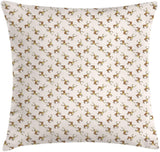 "Lunarable Moose Throw Pillow Cushion Cover, Cartoon Style Contentious Moose Patterns Wild Life Animals Nursery, Decorative Square Accent Pillow Case, 18"" X 18"", Pale Champagne Caramel Cream"