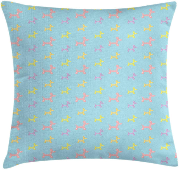 "Lunarable Cartoon Throw Pillow Cushion Cover, Puppy Balloon in Pastel Colors Simplistic Nursery Pattern Yellow Doggies, Decorative Square Accent Pillow Case, 20"" X 20"", Pale Blue Pale Pink"