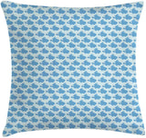 "Ambesonne Bunny Throw Pillow Cushion Cover, Pattern with Funny Rabbits on Polka Dot Background Baby Boys Nursery, Decorative Square Accent Pillow Case, 26"" X 26"", Blue Baby Blue and Cream"