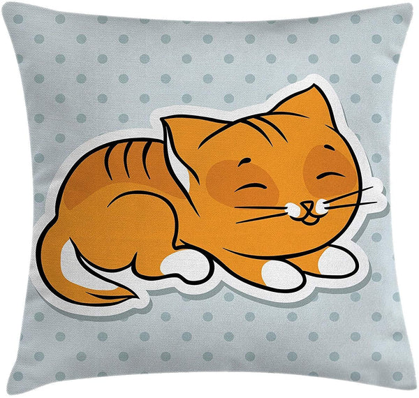 DDBACK Cat Throw Pillow Cushion Cover, Cute Sleeping Kitten on Polka Dots Background Kids Nursery Baby Theme Graphic, Decorative Square Accent Pillow Case, 18 X 18 inches, Merigold Orange Blue