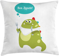 "Lunarable Bon Appetit Throw Pillow Cushion Cover, Green Hungry Dinosaur with Colorful Design and a Speech Bubble Nursery Cartoon, Decorative Square Accent Pillow Case, 24"" X 24"", Multicolor"