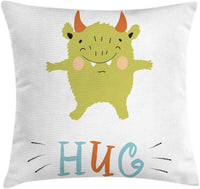 "Ambesonne Hug Throw Pillow Cushion Cover, Cheerful Monster Cartoon with Open Arms Nursery Themed Illustration, Decorative Square Accent Pillow Case, 40"" X 40"", Multicolor"