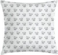 "Lunarable Dogs Throw Pillow Cushion Cover, Little Doodle Puppy with Circle Dots Wavy Line Kids Nursery Theme, Decorative Square Accent Pillow Case, 26"" X 26"", Pale Grey Cadet Blue White"