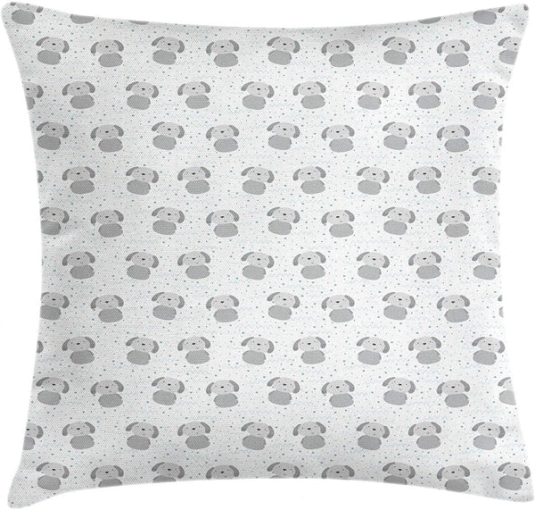 "Lunarable Dogs Throw Pillow Cushion Cover, Little Doodle Puppy with Circle Dots Wavy Line Kids Nursery Theme, Decorative Square Accent Pillow Case, 40"" X 40"", Pale Grey Cadet Blue White"