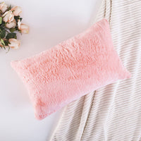Home Brilliant Plush Deluxe Fluffy Mongolian Faux Fur Suede Throw Pillow Case Supersoft Oblong Cushion Cover for Teen Girls, Pillow Not Included, 1 Pc, 12x20 Inch, Pink