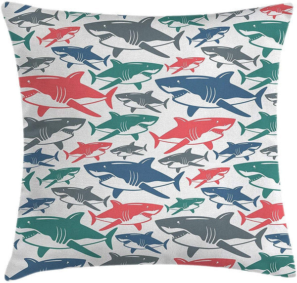 Animal Decor Throw Pillow Cushion Cover, Mix of Colorful Bull Shark Family Pattern Masters of Survival Kids Nursery, Decorative Square Accent Pillow Case, 18 X 18 Inches, Multi