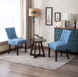Fabric Accent Dining Chairs Upholstered Leisure Padded Arm Chair,Nailed Trim,Set of 2(Blue)