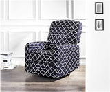 JC Home Menet Swivel Glide Recliner with Graphic-Print Fabric Upholstery, Navy and White