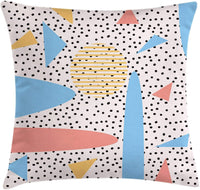 "Lunarable Abstract Throw Pillow Cushion Cover, Retro Abstract Design with Geometric Shapes and Dotted Background Nursery Creative, Decorative Square Accent Pillow Case, 40"" X 40"", Multicolor"