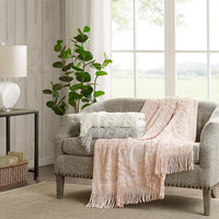 Madison Park Chloe 100% Cotton Tufted Chenille Design With Fringe Tassel Luxury Elegant Chic Throw Blanket For Couch, Bed, 50X60 Inches, Blush