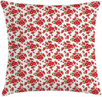 "Ambesonne Cranberry Throw Pillow Cushion Cover, Childish Fruit Branches Kids Nursery Foliage Harvest Cartoon Style, Decorative Square Accent Pillow Case, 26"" X 26"", Fern Green Red White"