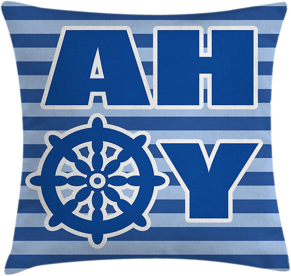 "Ambesonne Ahoy Its a Boy Throw Pillow Cushion Cover, Ahoy Written with Nautical Wheel Striped Nursery Wall Art Design, Decorative Square Accent Pillow Case, 16"" X 16"", Blue Pale Blue White"