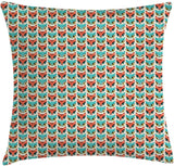 "Lunarable Woodland Throw Pillow Cushion Cover, Forest Fauna Pattern with Owls and Foxes Big Eyes Nursery Cartoon, Decorative Square Accent Pillow Case, 40"" X 40"", Turquoise Eggshell Scarlet"