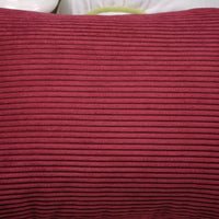 CaliTime Pack of 2 Cozy Throw Pillow Covers Cases for Couch Bed Sofa Ultra Soft Corduroy Striped Both Sides 16 X 16 Inches Dark Red