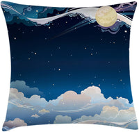 "Lunarable Fantasy Throw Pillow Cushion Cover, Surreal Moon Night Sky with Stars and Dream Clouds Magic Space Nursery Theme, Decorative Square Accent Pillow Case, 40"" X 40"", Indigo Pale Blue"